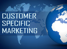 Customer Specific Marketing. Concept with globe on blue background Royalty Free Stock Images