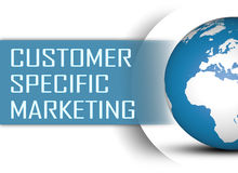 Customer Specific Marketing. Concept with globe on white background Stock Images