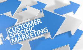 Customer Specific Marketing. 3d render concept with blue and white arrows flying over a white background Royalty Free Stock Photos