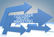 Customer Specific Marketing. Render concept with blue arrows on a bluegrey background Royalty Free Stock Photos