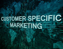 Customer Specific Marketing. Text concept on green digital world map background Royalty Free Stock Images