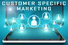 Customer Specific Marketing. Text illustration with social icons and tablet computer and mobile cellphones on cyan digital world map background Stock Image