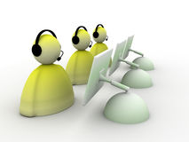 Customer support. Illustration of customer support - characters with headsets and computers vector illustration