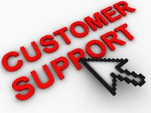 Customer support. And cursor arrow Royalty Free Stock Photo