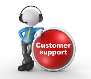 Customer support. 3d people - man, person with headphones and a button. Customer support. Businessman Royalty Free Stock Photography