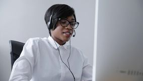 Customer Support. Afro-American Woman Working In Call Center