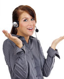 Customer support agent. Over white background royalty free stock photo