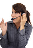 Customer support agent. Over white background royalty free stock image