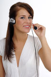Customer support agent. Over white background royalty free stock images