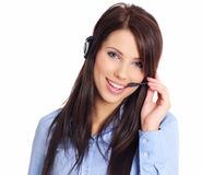 Customer support agent. Studio shot over white background Royalty Free Stock Photo
