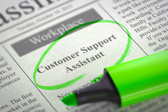Customer Support Assistant Job Vacancy. 3D. Stock Photography