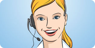 Customer support blond woman smiling with headset vector illustration