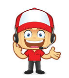 Customer support. Clipart picture of a customer support cartoon character royalty free illustration
