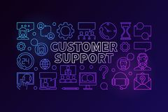 Customer support colorful illustration. Vector customer service Royalty Free Stock Photo