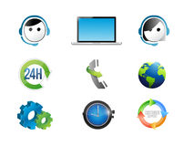 customer support concept icon set illustration Stock Photography