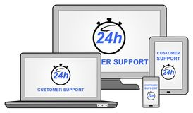 Customer support concept on different devices. Customer support concept shown on different information technology devices Royalty Free Stock Photo