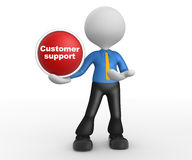 Customer support. 3d people - man, person with a button. Customer support. Businessman Stock Photo