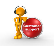 Customer support. 3d people - man, person with headphones and a button. Customer support. Businessman Stock Photos