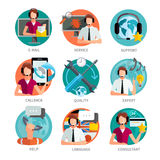 Customer Support Design Emblems Set Royalty Free Stock Photography