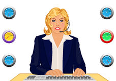 Customer support desk 24 hours. Call us anytime! - raster illustration of a happy customer support agent working in an office open 24 hours. Original vector file Royalty Free Stock Image