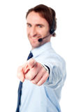 Customer support execuitive pointing you out Royalty Free Stock Image