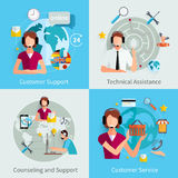 Customer Support 4 Flat Icons Square Royalty Free Stock Photography