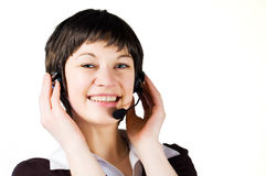 Customer support girl in call center Royalty Free Stock Images