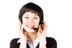 Customer support girl in call center Stock Photos