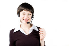 Customer support girl in call center Stock Image