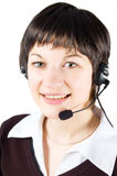 Customer support girl in call center Stock Images