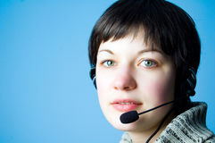 Customer support girl in call center Stock Photo