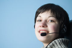 Customer support girl in call center Stock Photography