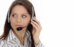 Customer support girl.Call center Stock Photos