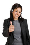 Customer support giving thumbs up Stock Images