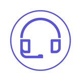 Customer support, headset circular line icon. Round sign. Flat style vector symbol. Stock Images