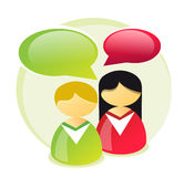 Customer support icon. Male and female icon with glossy speech bubbles. This illustration is useful for chat, forum or customer support Stock Photography