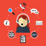 Customer support icon in flat style Stock Photo