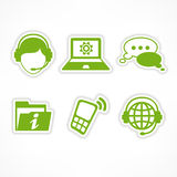 Customer support icons in green Stock Photos