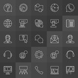 Customer support icons - vector support service line symbols. Customer support icons - vector collection of support service concept outline signs on dark Royalty Free Stock Photography