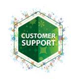 Customer Support floral plants pattern green hexagon button vector illustration