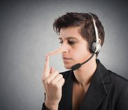 Customer Support liar. Concept of Customer Support liar with long nose Royalty Free Stock Images