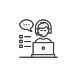 Customer support line icon, outline vector sign, linear pictogram isolated on white. Stock Images