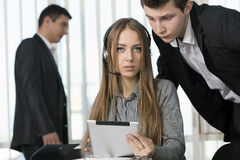 Customer Support Officer and her Boss Royalty Free Stock Photos
