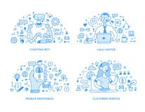 Customer Support & Online Assistance Spot Illustrations. Collection of customer support & professional online assistance doodle spot illustrations. Chatting bot vector illustration