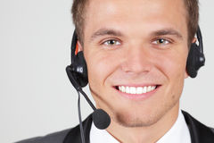 Customer support operator. Man smiling isolated stock photos