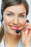 Customer support operator close up portrait.  call center smili Royalty Free Stock Image