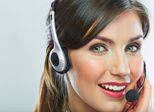 Customer support operator close up portrait.  call center smili Royalty Free Stock Photography