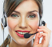 Customer support operator close up portrait.  call center smili Royalty Free Stock Photos