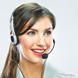 Customer support operator close up portrait.  call center smili Stock Photo