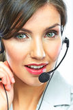 Customer support operator close up portrait.  call Royalty Free Stock Photo